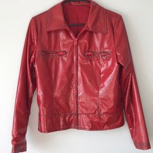 Vintage Distressed Red Snakeskin-like Jacket  💋
